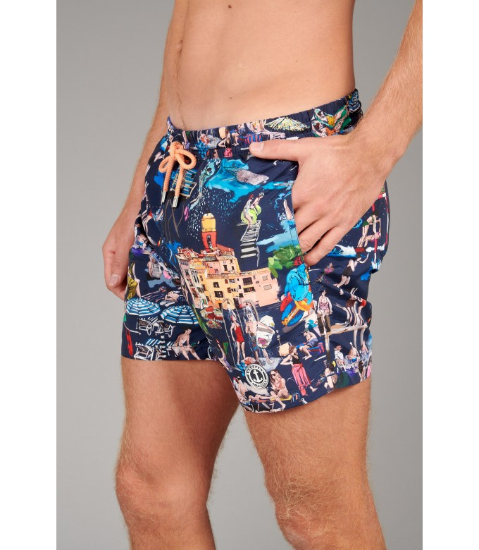 SUMMER - St Tropez painting printed navy blue swimshort