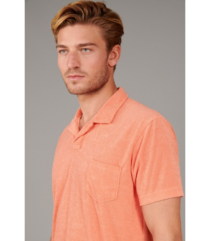 MITCH - Towelling orange polo shirt