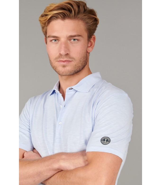 WESTON - Polo jersey en coton, ciel