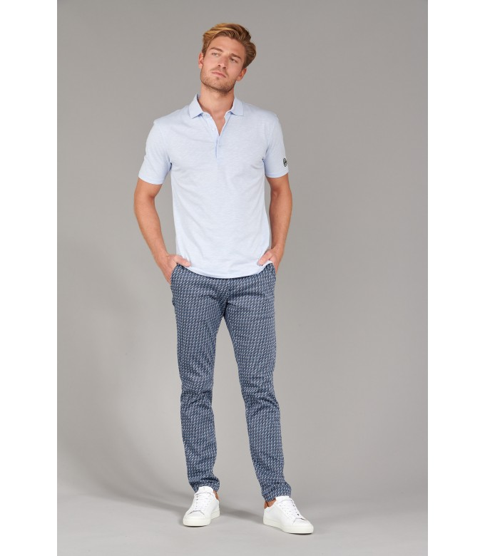 WESTON - Cotton jersey polo shirt, light blue