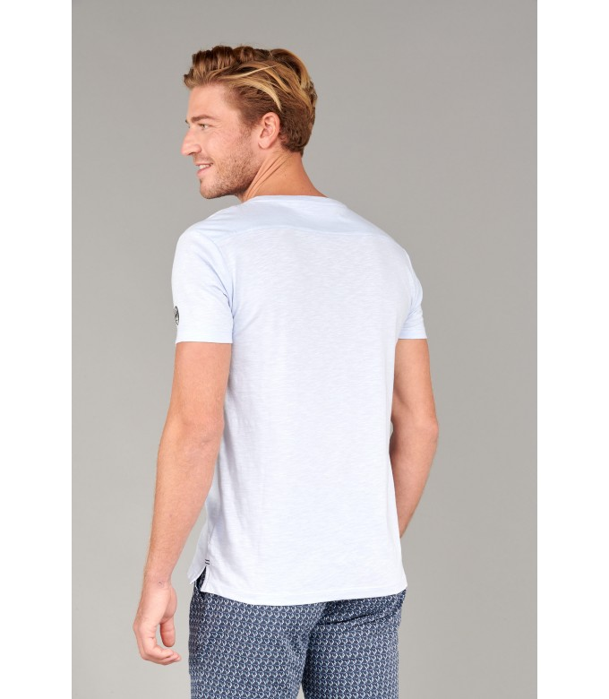 NECK - Cotton V-neck tee-shirt, light blue