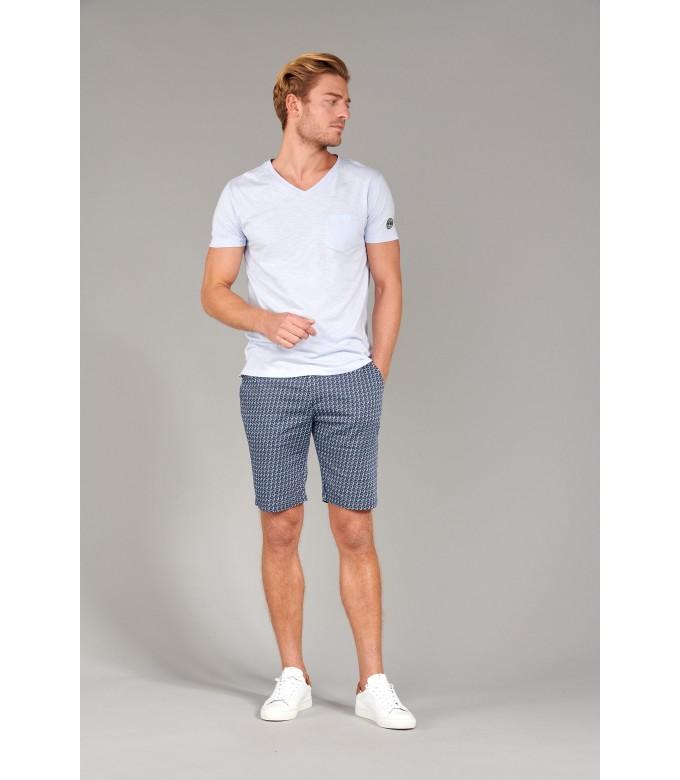 NECK - Tee-shirt col V en coton, bleu ciel