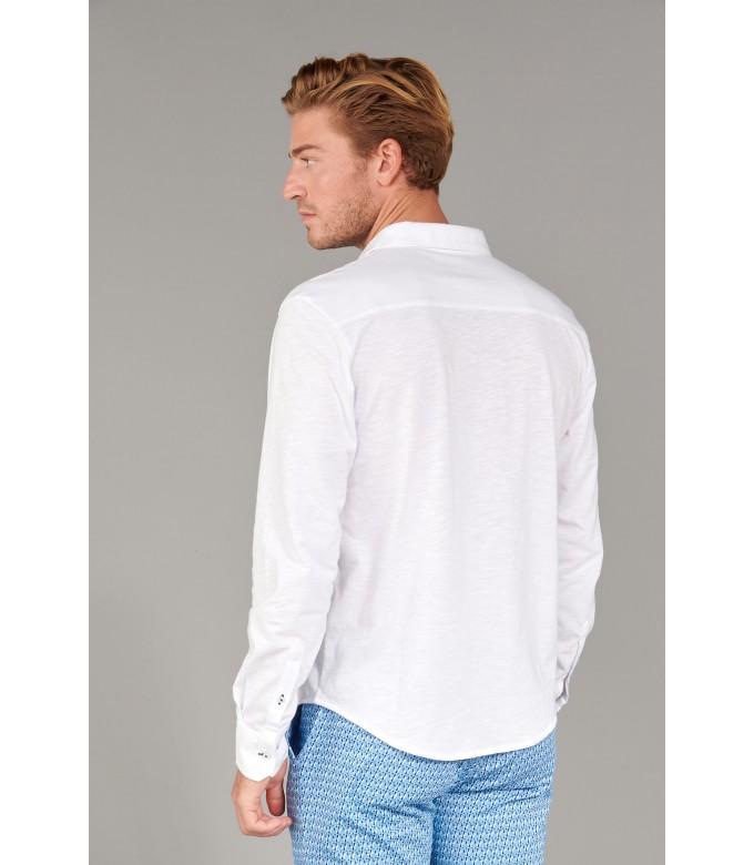 STUART - Thin cotton shirt, white