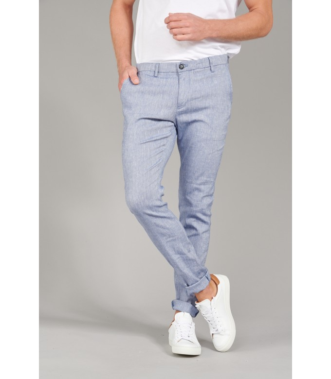 GORDON - Pantalon chino slim fit lin chiné, marine