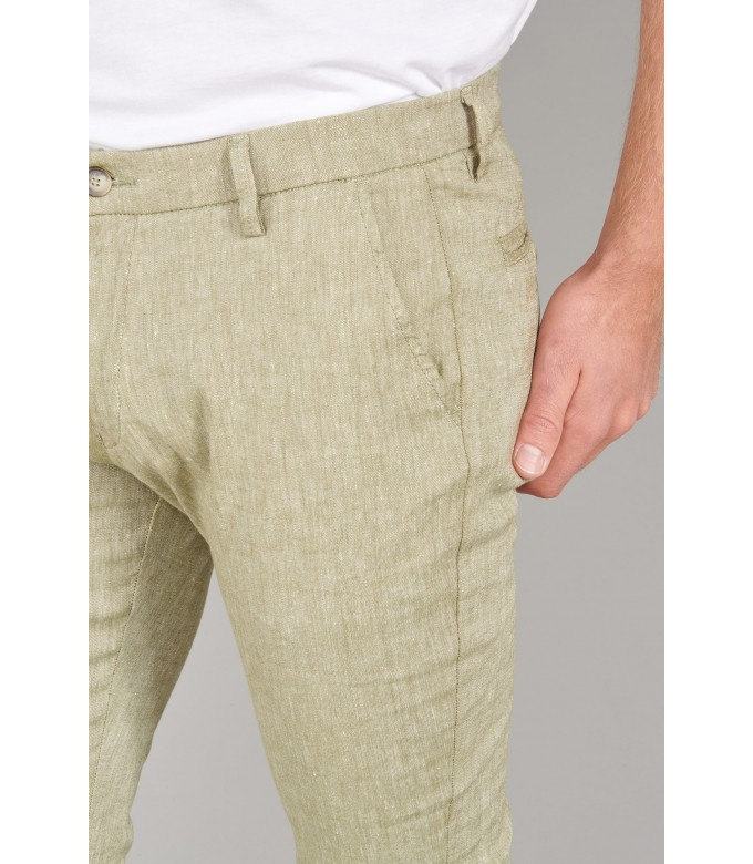 GORDON -  Kaki linen chino pant