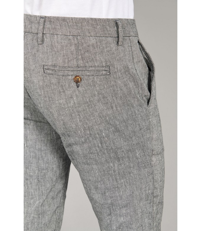 GORDON - Linen-blend slim fit chinos, dark grey