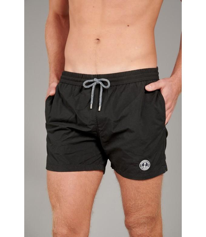 SOFT - Plain color slim fit swimshorts, black