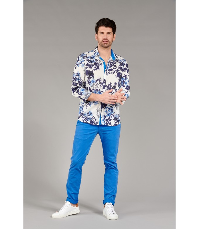LAGON - Cotton flower printed shirt   beige and blue
