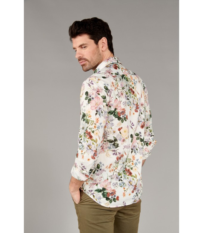 FLOWER - Cotton ecru flower printed shirt
