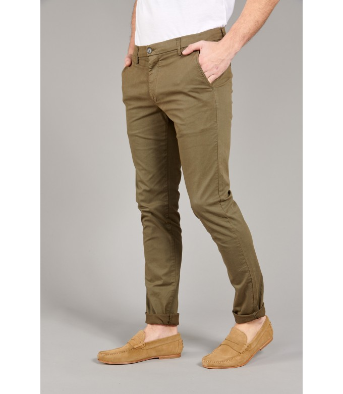 FLASH - Pantalon chino coupe ajustée, kaki