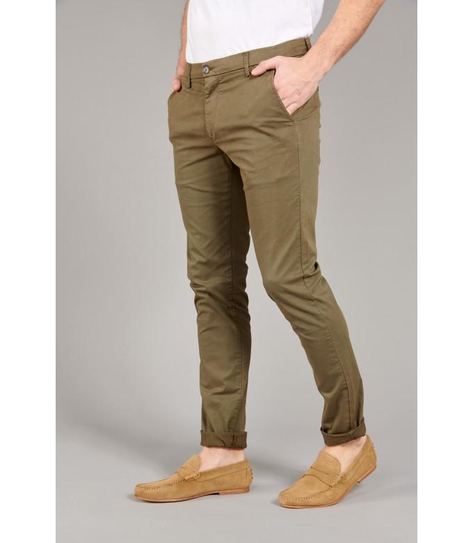 FLASH - Slim fit cotton chinos trousers, khaki
