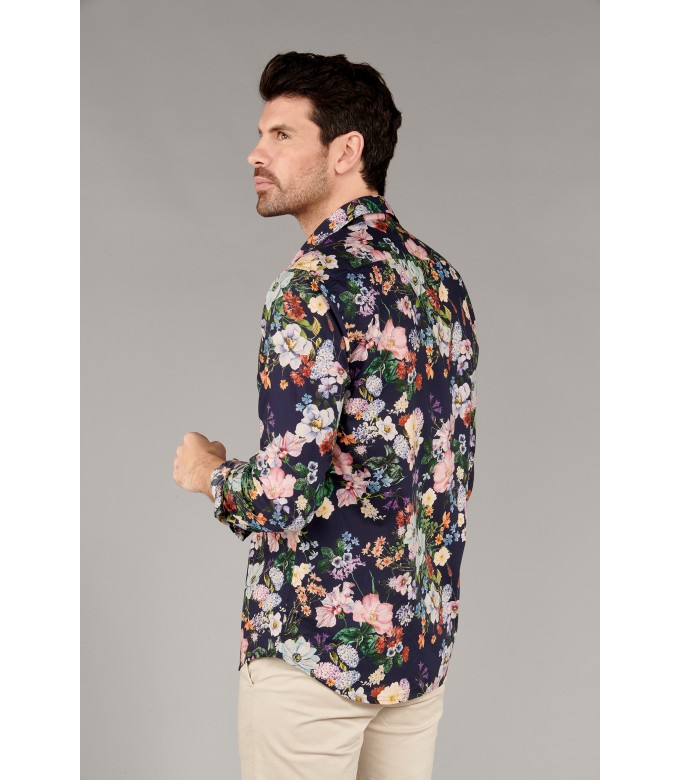 FLOWER - Cotton navy blue flower printed shirt