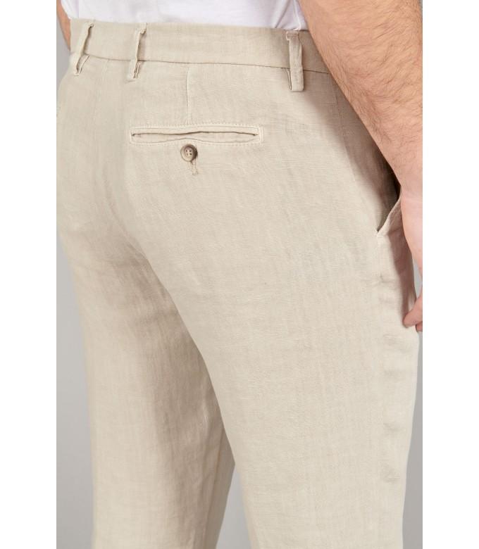 DYLAN - Pantalon en lin decontracté beige