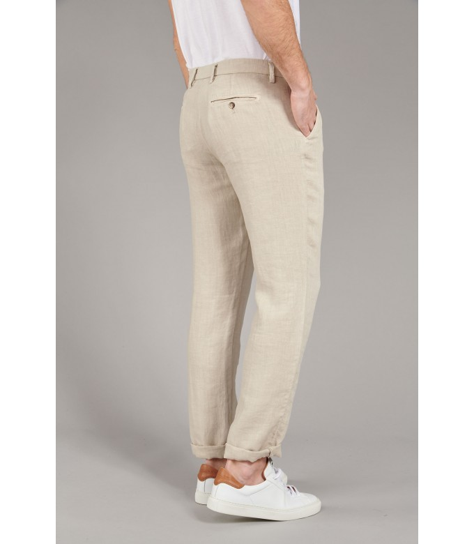 DYLAN - Beige blue casual linen trouser
