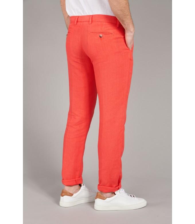DYLAN - Pantalon en lin decontracté rouge