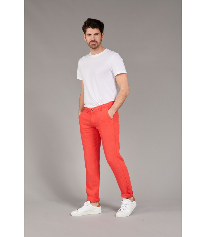 DYLAN - Red casual linen trouser