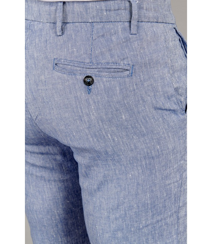 TURNER - Slim fit linen-blend bermudas, light blue