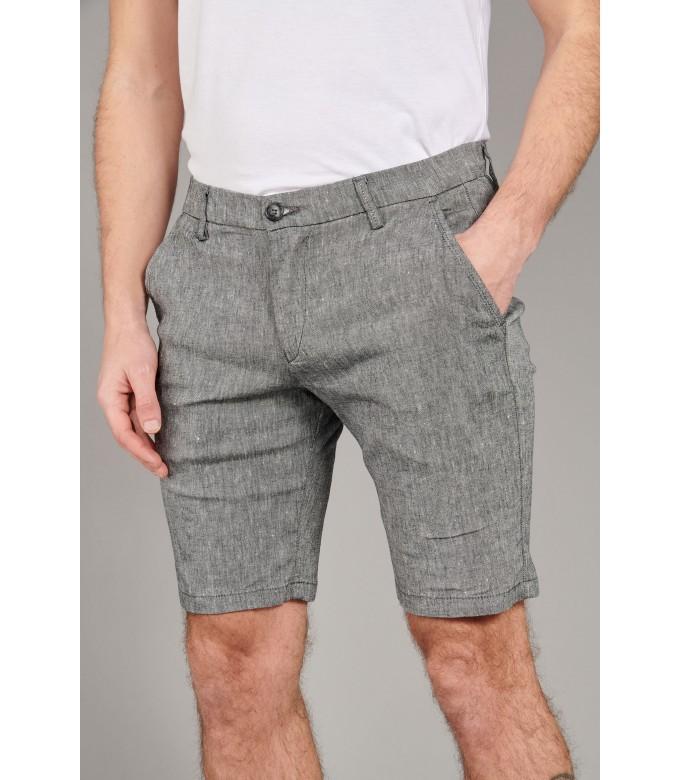 TURNER -  Slim fit linen-blend bermudas, dark grey