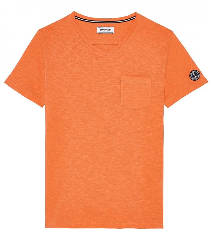 NECK - Tee-shirt col V en coton, orange