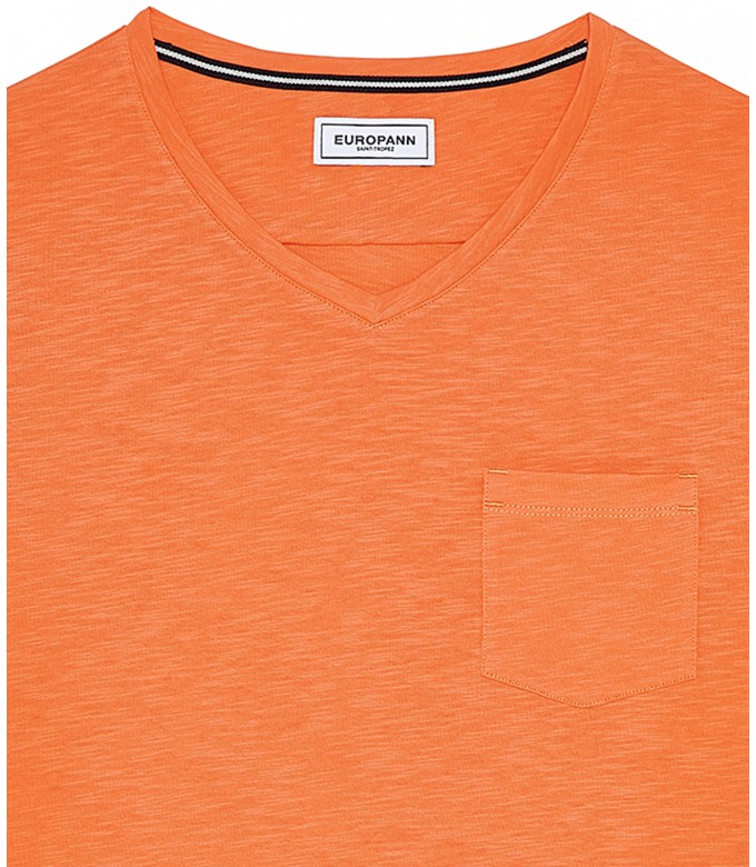 NECK - Cotton V-neck tee-shirt, orange
