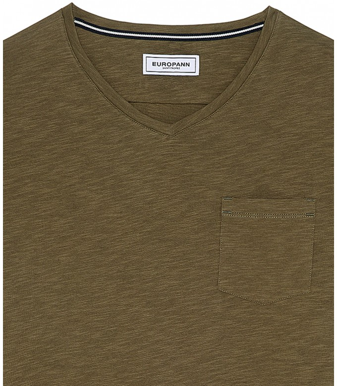 NECK - Tee-shirt col V en coton, kaki