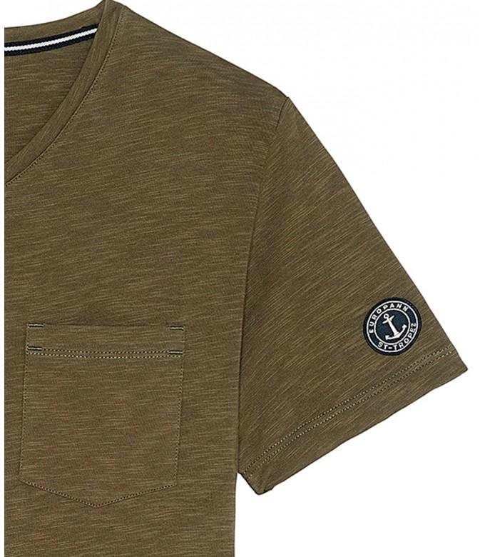 NECK - Cotton V-neck tee-shirt, khaki