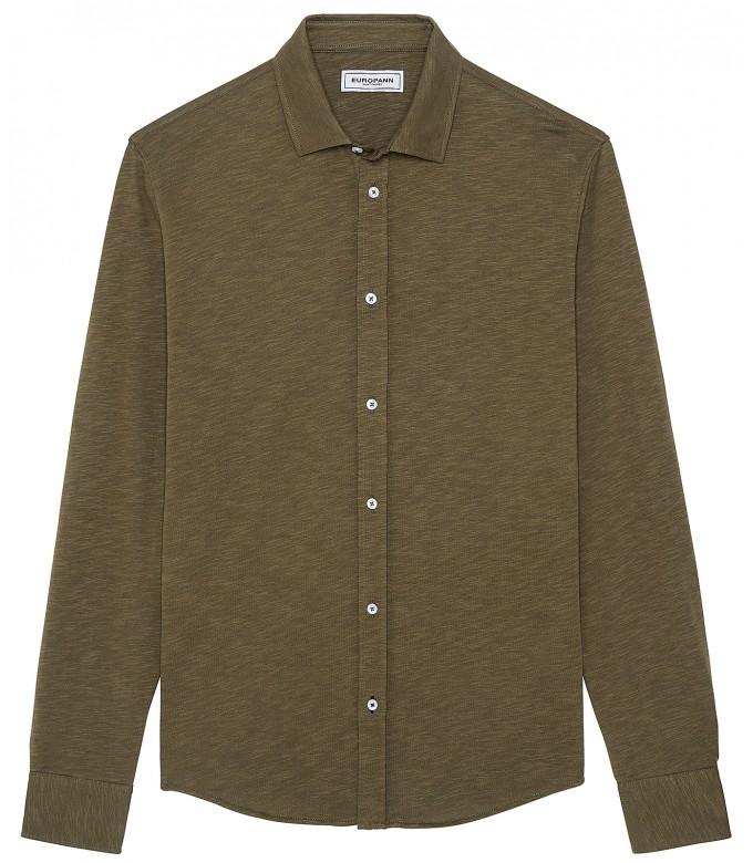 STUART - Thin cotton shirt, khaki