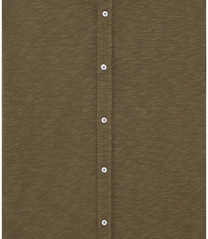 STUART - Chemise en coton fin uni slim-fit, kaki