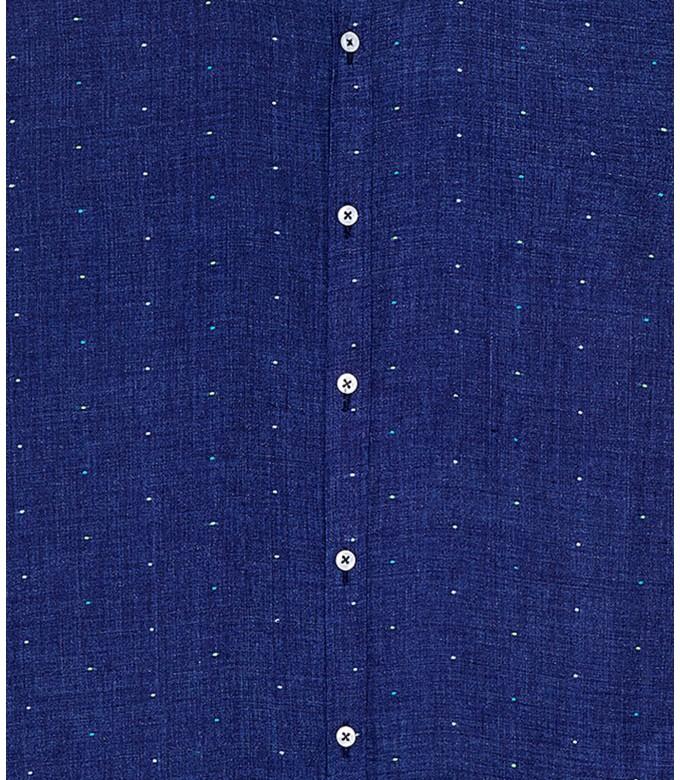 AIME - Chemise bleu marine lin à pois