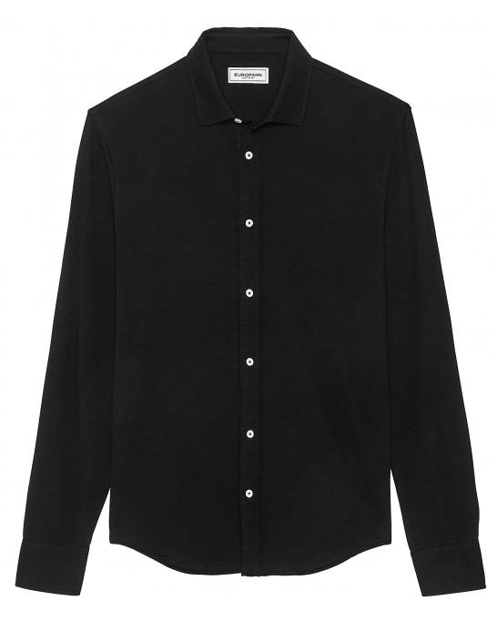 STUART - Thin cotton shirt, black