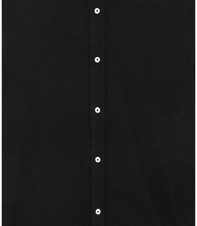 STUART - Chemise en coton fin uni slim-fit, black
