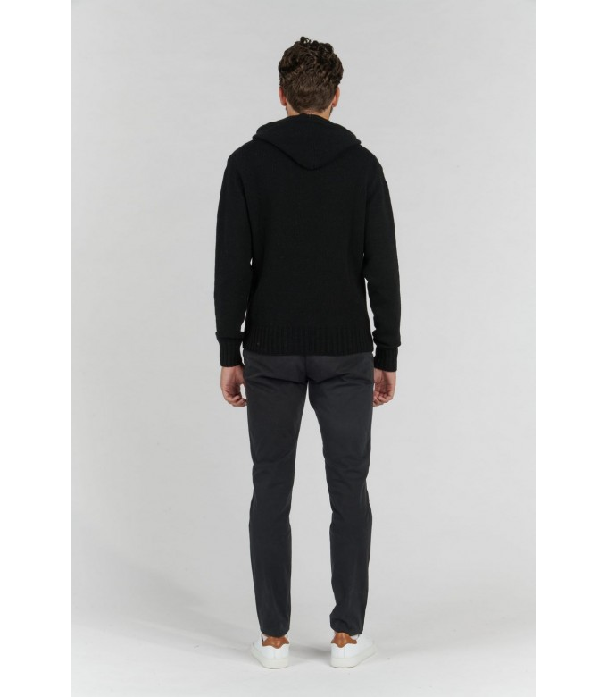 RON BLACK HOODED SWEATER